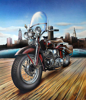 Custom Harley-Davidson on Dock by Bill Yurcich