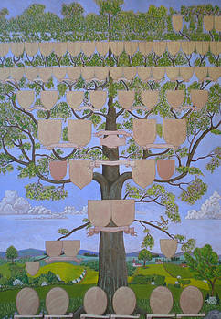 Customized family tree chart Clouds and hills by Alix Mordant