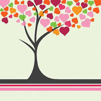 Cute Hearts Tree by Anne Marie Baugh