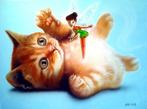 Cute Kitten And Fairy by Amatzia Baruchi