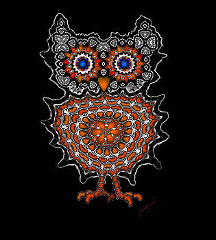 Cute Owl with Big Blue eyes 1 by Marcela Bennett