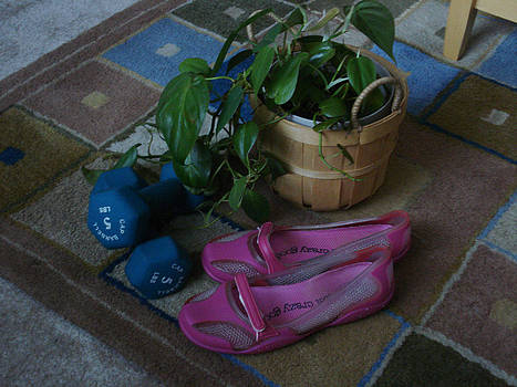 Cyberculture - Pink Shoes - Blue Dumbells - Green Plants by Jessica Gale