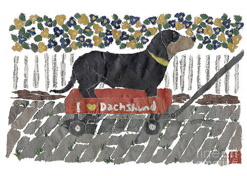 Dachshund Art Hand-Torn Newspaper Collage Art by Keiko Suzuki