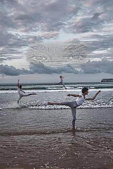 Dacing on the beach by Angel Jesus De la Fuente