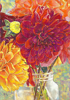 Dahlias in a Canning Jar by Nick Payne