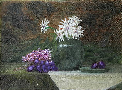 Daisies in Green Vase by DG Ewing