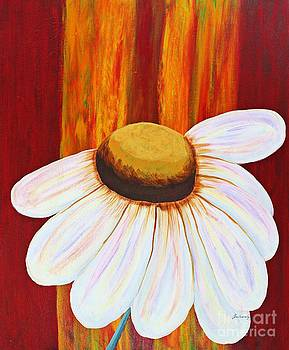 Barbara Griffin - Daisy a Day Painting on Red