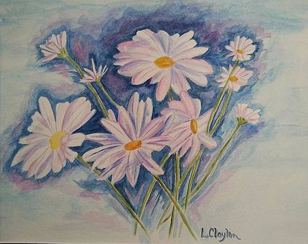 Daisys in Blue by Lynette Clayton