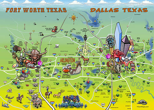 Kevin Middleton - Dallas Fort Worth Cartoon Map