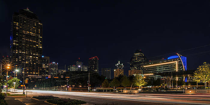 Dallas Night Skyline from Klyde Warren Park by Todd Aaron