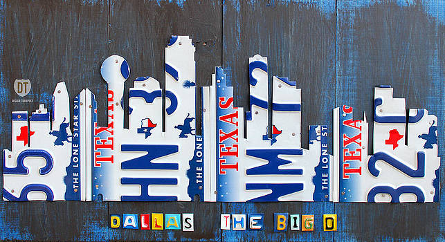 Design Turnpike - Dallas Texas Skyline License Plate Art by Design Turnpike