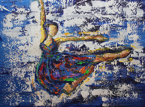 Dance Figure Study Blue by Kristye Addison Dudley