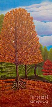 Dance of Autumn Gold With Blue Skies I by Kimberlee Baxter