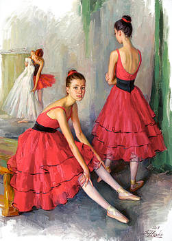 Dancers in red by Serguei Zlenko