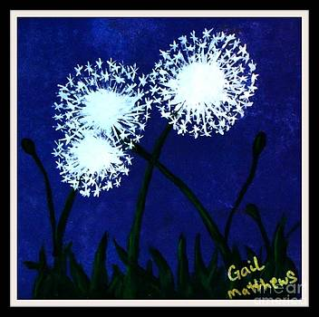 Gail Matthews - Dandelions at Night framed