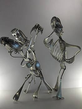 Danseur De Tango Accompagne Par L'accordeoniste by Dalu sculpteur Anticonformiste