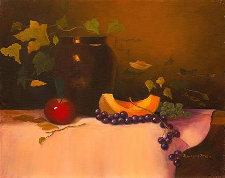 Dark Vase with Fruit by Jeanene Stein