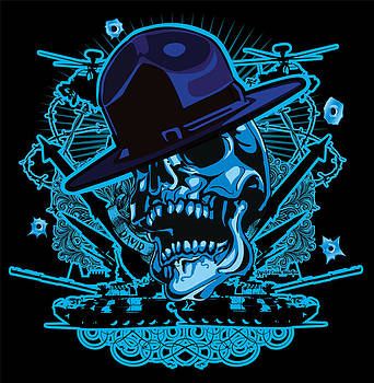 David Cook Drill Sergeant Skull Art by David Cook  Los Angeles Prints