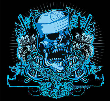 David Cook Studios Navy Don't Tread On Me Skull Art by David Cook  Los Angeles Prints