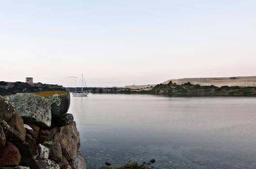 Pedro Cardona Llambias - Entrance to Port Mahon in Minorca Island - Dawn in cold bluish
