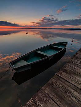 Dawn on lake by Davorin Mance
