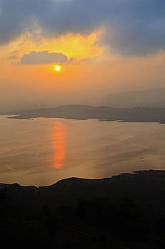 Dawn on Lake Pavna India from the Hil by Kantilal Patel