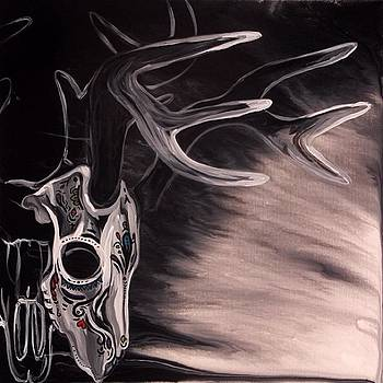 Day Of The Dead Deer Skull 24x24 by Ocean Clark