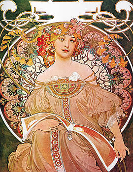 Daydream Reverie Art Nouveau Lady  by Masterpieces Of Art Gallery