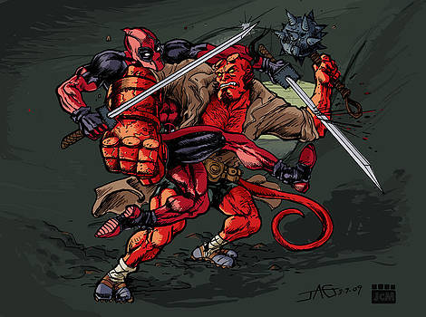 Deadpool VS Hellboy by John Ashton Golden