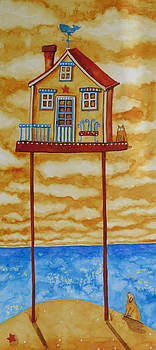 Debi Hubbs Art Seaside Ocean Beach Cottage Pets Cat Dog by Debi Hubbs
