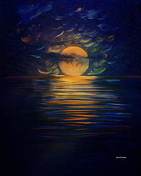 December Full Moon Peace over The Ocean by Angela A Stanton