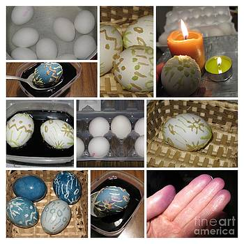 Decorate Easter Eggs With Wax and Cabbage Dye. Collage Series by Ausra Huntington nee Paulauskaite