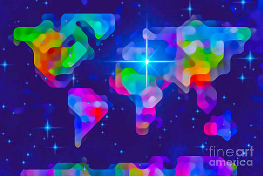 Algirdas Lukas - Decorative Stylized Colorful World Map