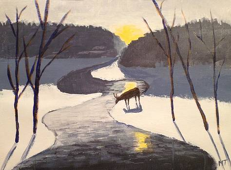 Deer by a stream by Michelle Treanor