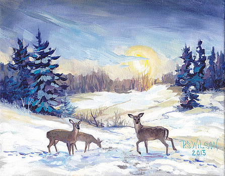 Peggy Wilson - Deer In Winter Landscape