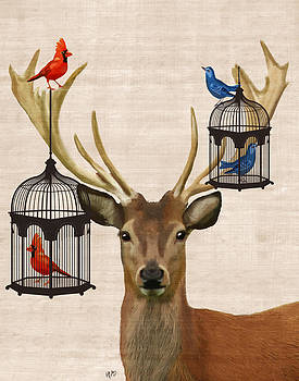 Deer with Bird Cages by Kelly McLaughlan