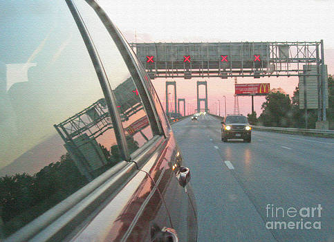 Delaware Memorial Bridge At The Sunset. Texturized. Mirror Reflections Series. by Ausra Huntington nee Paulauskaite