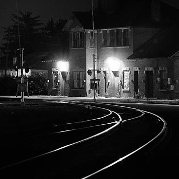 Delaware train station at night by Dick Wood