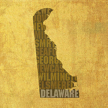 Design Turnpike - Delaware Word Art State Map on Canvas