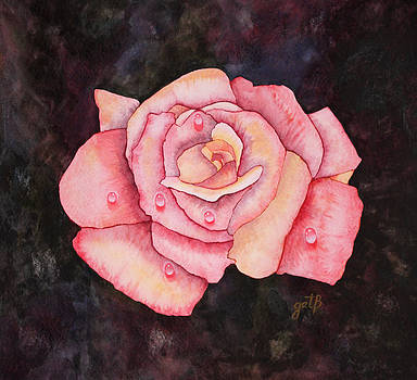Delicate Pink Rose with Water Droplets original watercolor painting by Georgeta  Blanaru