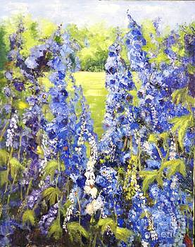 Delphiniums in the Garden by Jorunn Kristiansen Coe