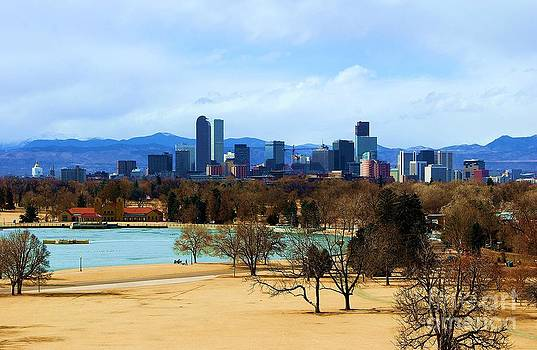 Denver Skyline in Winter by Valerie Beasley