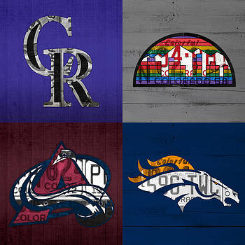 Design Turnpike - Denver Sports Fan Recycled Vintage Colorado License Plate Art Rockies Nuggets Avalanche Broncos