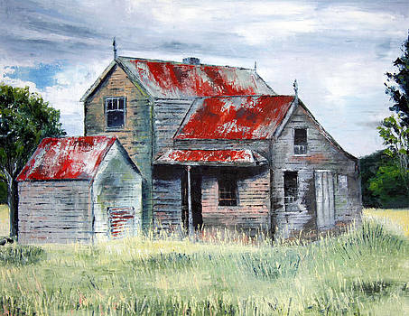 Derelict. Palette Knife Oil Painting. No brush. by Lisa Elley
