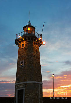 Desenzano del Garda Old Lighthouse and a Lamp Post Sunrise by Kiril Stanchev