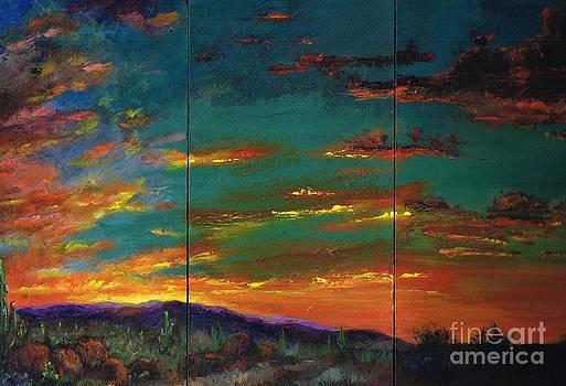 Desert Sunset Full Triptych by Frances Marino