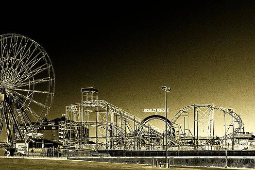 Bill Swartwout Fine Art Photography - Deserted Ocean City Amusement Pier Painted Gold