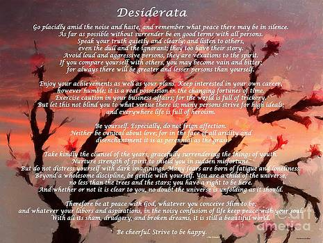 Barbara Griffin - Desiderata with Cherry Tree at Sunset