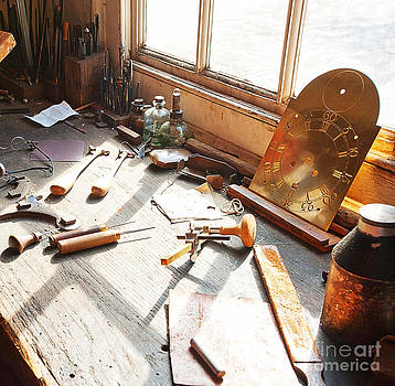 Desk of a Clockmaker in Williamsburg Virginia by Artist and Photographer Laura Wrede