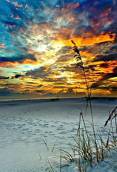 Destin Florida White Sand Landscape-Fiery Red Sky Sunset by Eszra Tanner